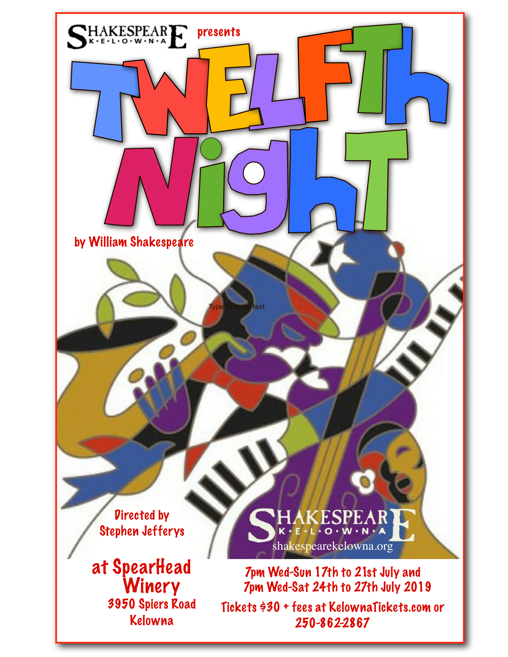 2019 Twlefth Night poster for Shakespeare Kelowna's 2019 performance